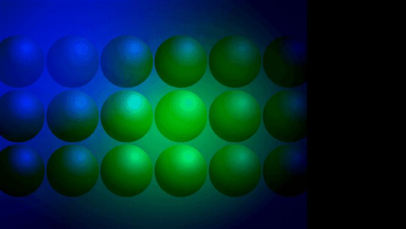 قالب تصميم الكرات الخضراء والزرقاء