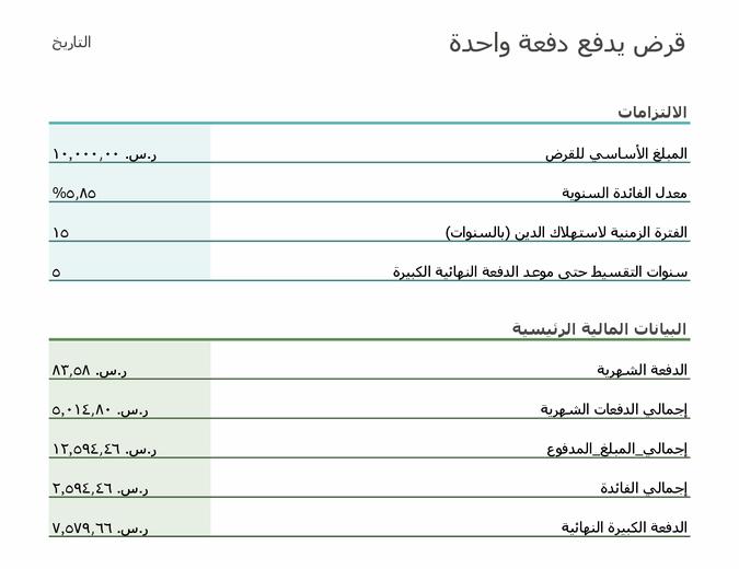 حاسبة دفعة القرض النهائية الكبيرة