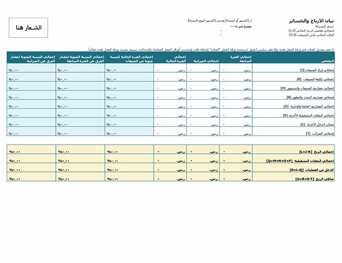 قائمة الأرباح والخسائر (مع الشعار)