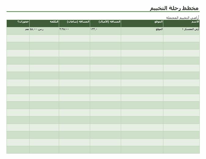 مخطط رحلة التخييم