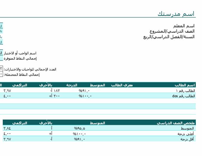 دفتر درجات المعلم (استنادًا إلى النقاط)