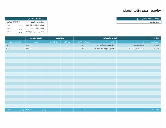 حاسبة مصاريف السفر