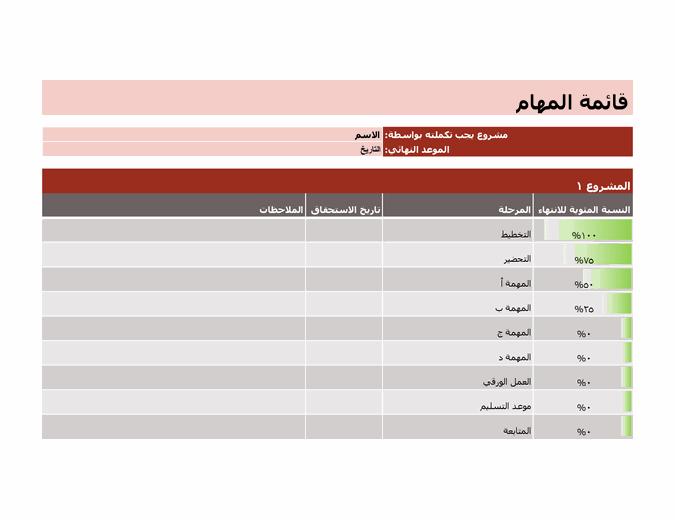 قائمة المهام للمشاريع