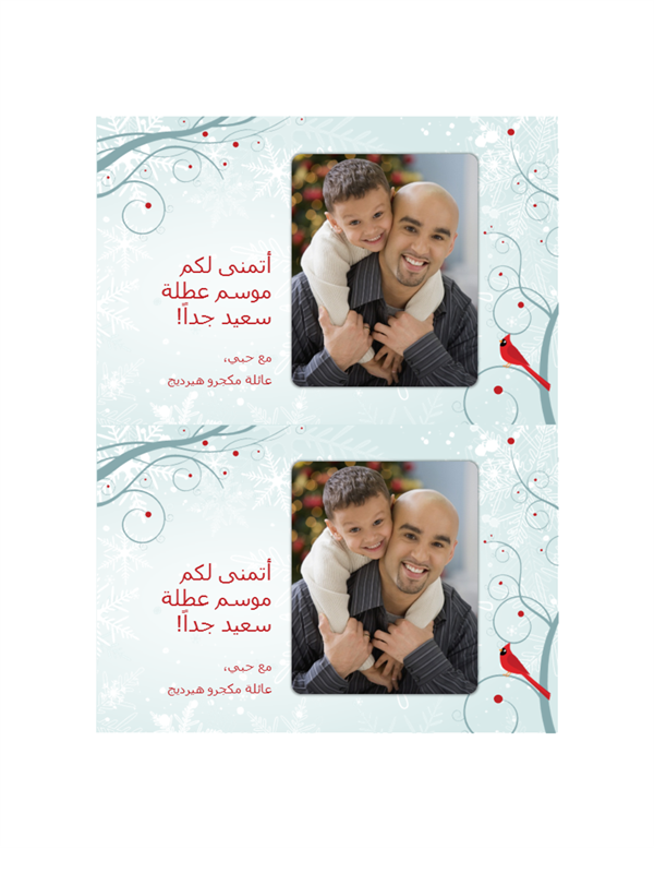 بطاقات صور عطلة ندفة الثلج (اثنتان لكل صفحة)