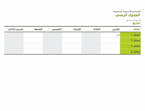 الجدول الزمني للمجموعة