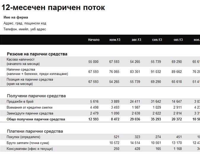12-месечен отчет за лични парични потоци