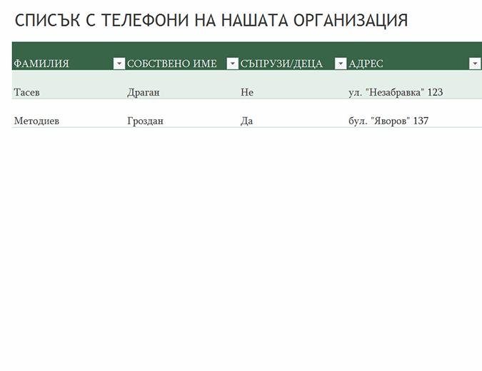Списък с телефони на служителите