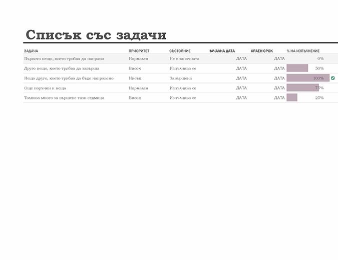 Списък със задачи с проследяване на напредъка