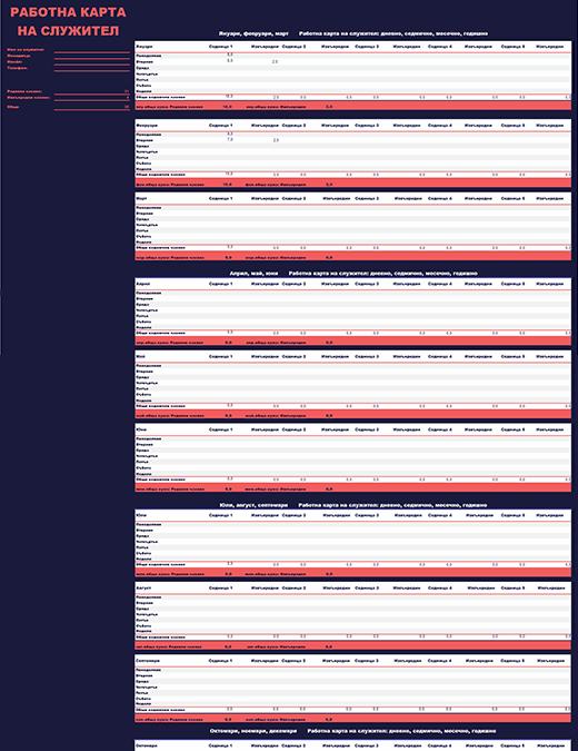 Присъствена карта на служителя (седмично, месечно, годишно)