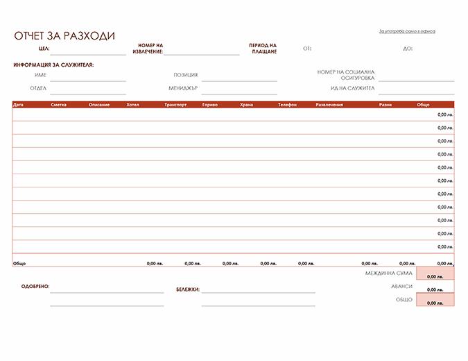 Отчет на разходите