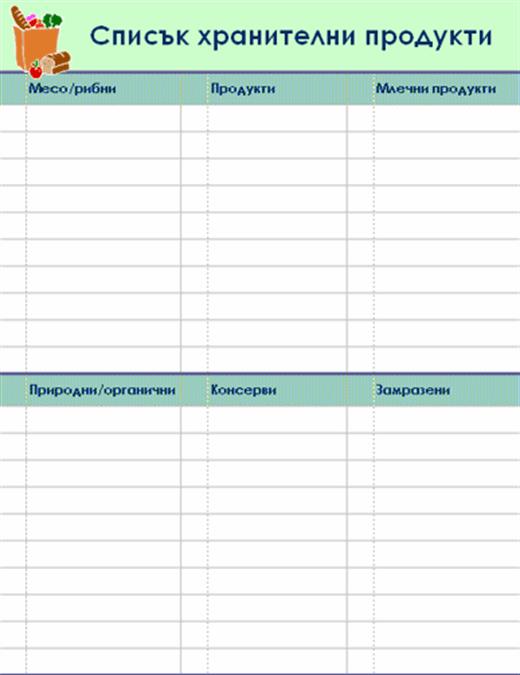 Списък хранителни продукти