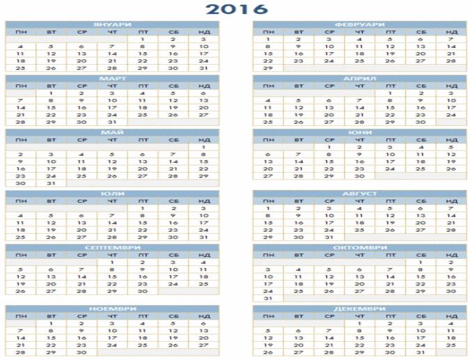 Годишен календар за 2016-2025 г.