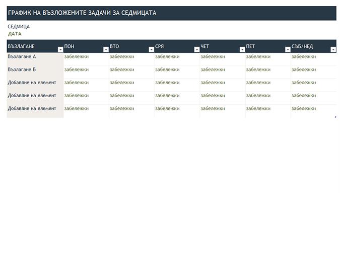 Седмичен график на възлаганията