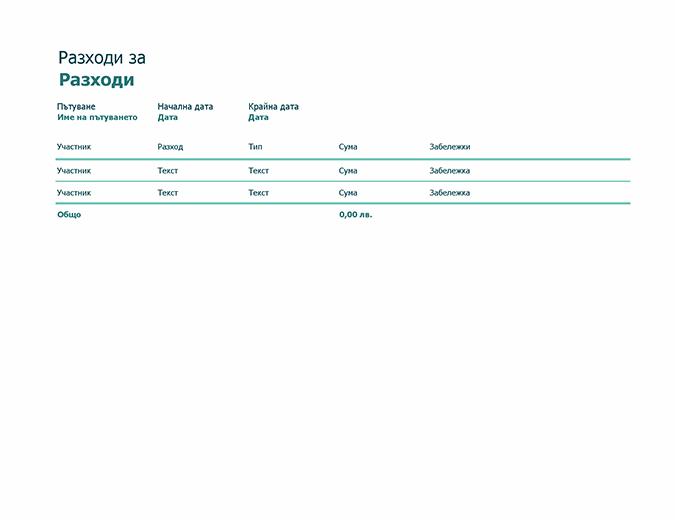 Проследяване на разходите на пътуване