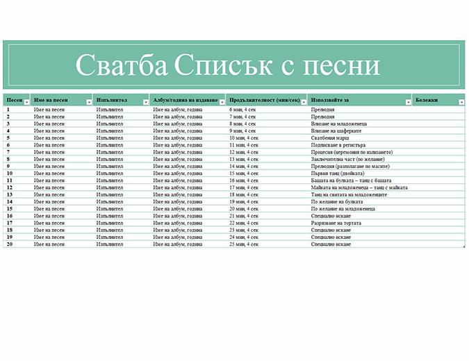 Списък с песни за сватба