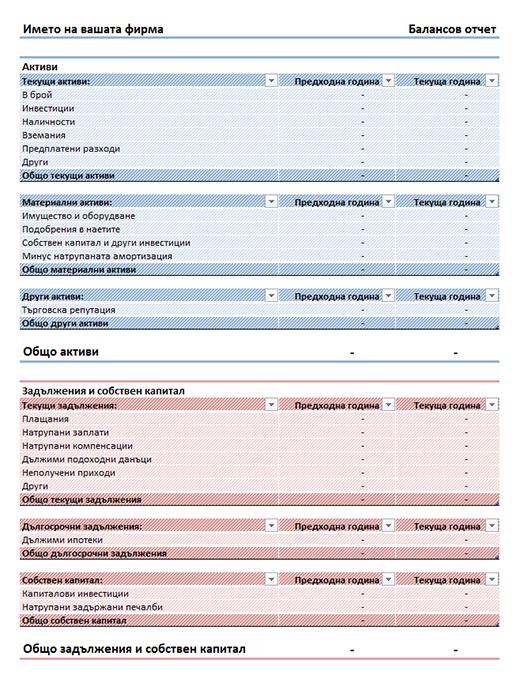 Балансов отчет (прост)