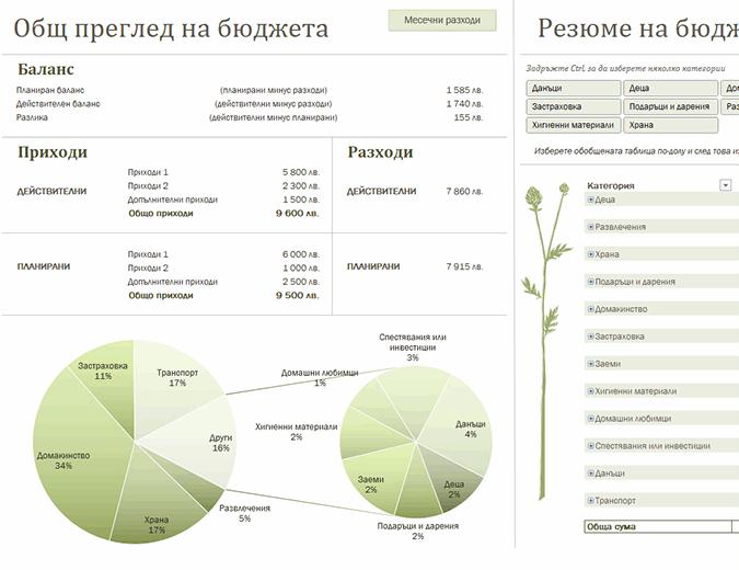 Семеен бюджет (месечен)