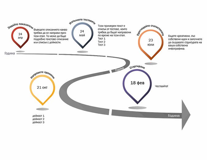Времева линия с контролна точка за инфографики