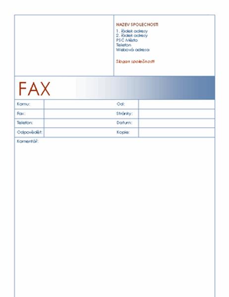 Titulní stránka faxu (modrý motiv)