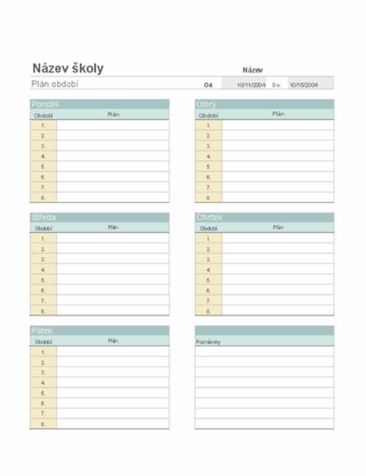 Týdenní plán výuky pro učitele