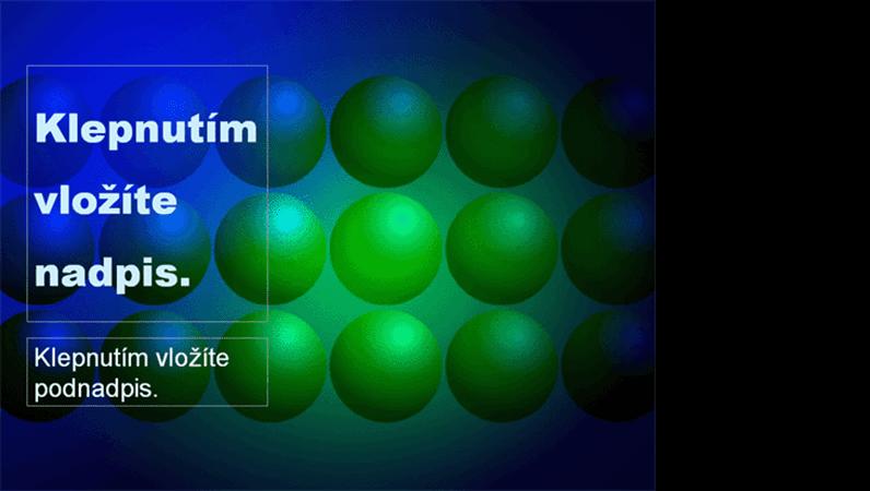 Šablona návrhu s motivem modrých a zelených koulí