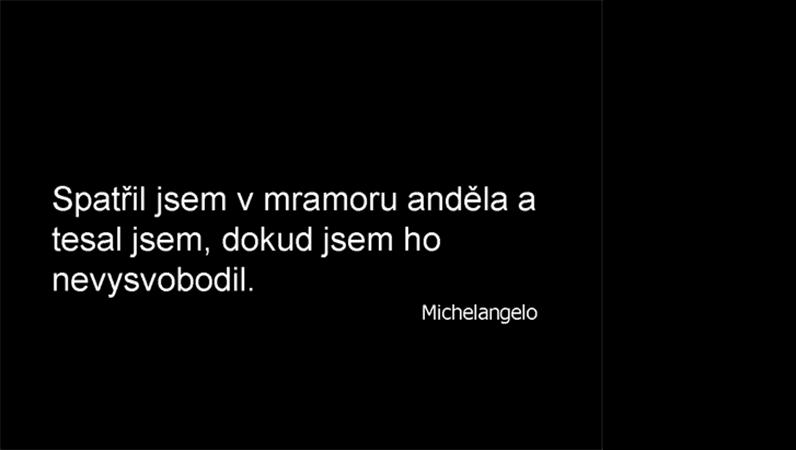 Snímek s citátem Michelangela