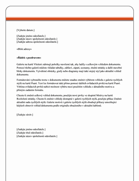 Jmění – dopis hromadné korespondence