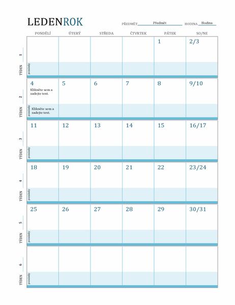 Kalendář s plánem lekcí