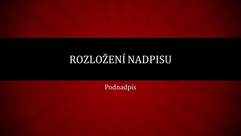 Červená prezentace s paprsky (širokoúhlý formát)