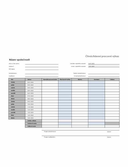 Čtrnáctidenní pracovní výkaz s údaji o nemoci a dovolené
