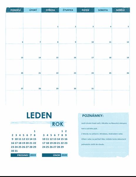 Akademický kalendář (jeden měsíc, libovolný rok, začátek v pondělí)