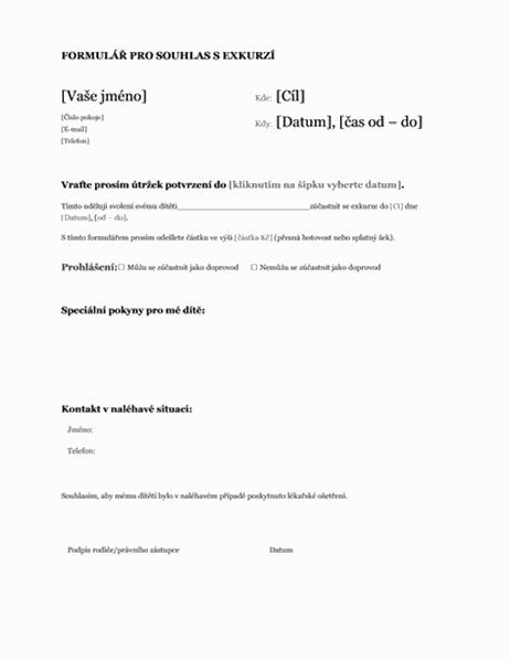 Formulář pro souhlas s exkurzí (střední školy)