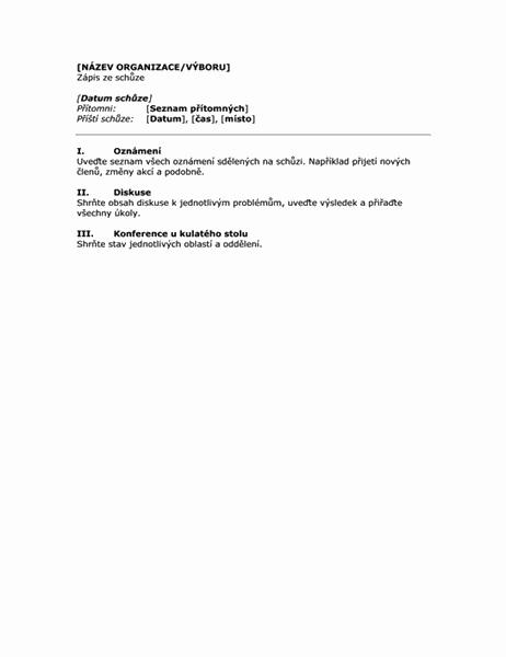 Zápis ze schůze organizace (krátký tvar)