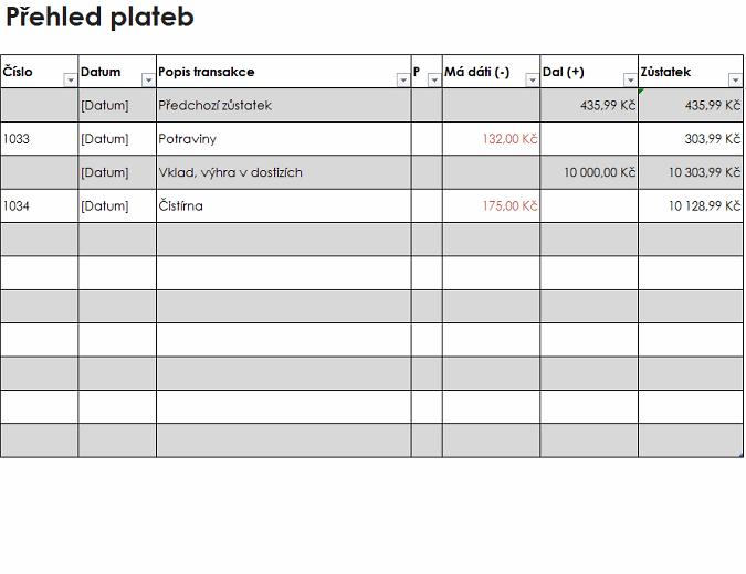 Přehled plateb (jednoduchý)