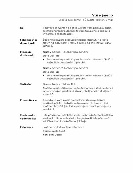Strukturovaný profesionální životopis (minimalistický návrh)