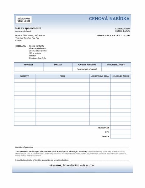 Cenová nabídka služeb (návrh s modrým přechodem)