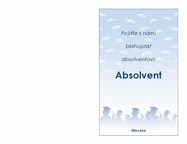 Pozvánka na absolventský večírek (návrh Absolventský večírek, přeložení napůl)