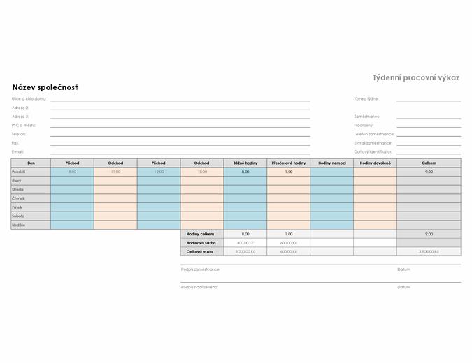 Týdenní pracovní výkaz (21,59 × 27,94 cm, na šířku)