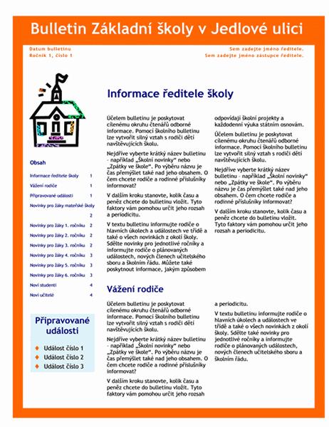 Školní bulletin (3 sloupce, 4 stránky)