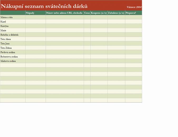 Dárky – nákupní seznam