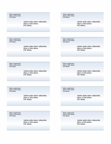 Expediční štítky (návrh s modrým přechodem, 10 štítků na stránku)