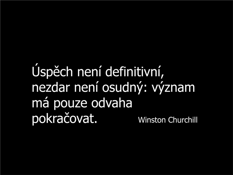 Snímek s citátem Winstona Churchilla