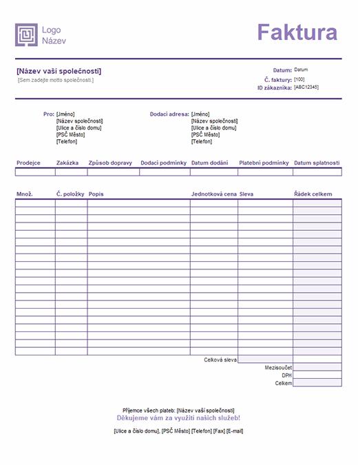 Prodejní faktura (návrh s jednoduchými řádky)