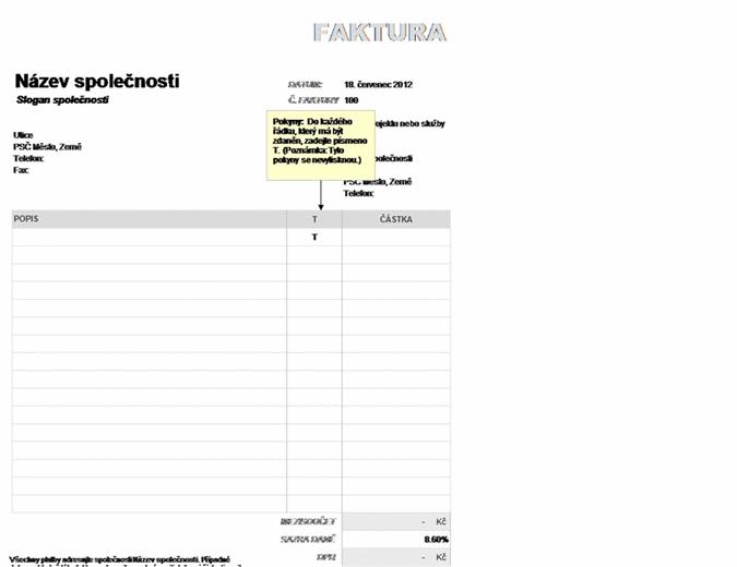 Faktura s částečným zdaněním DPH