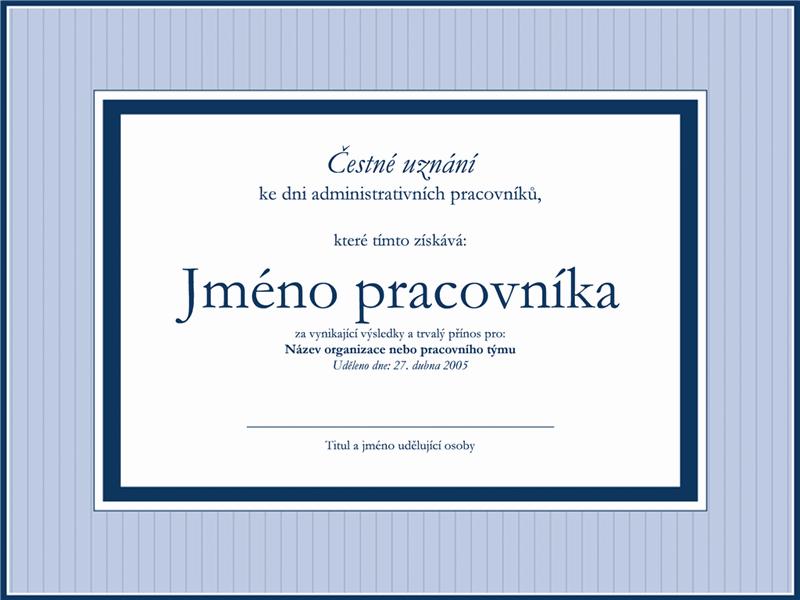 Čestné uznání pro administrativního pracovníka