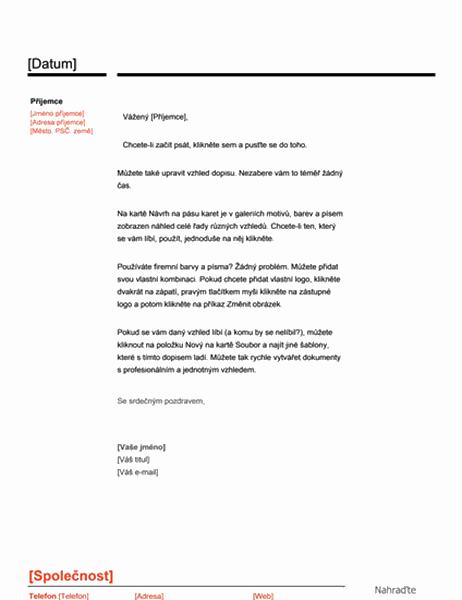 Hlavička dopisu (červenočerný návrh)