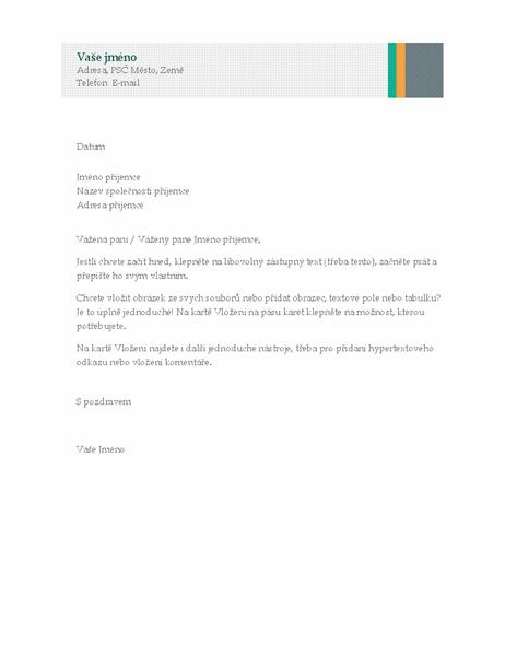 Obchodní dopis (návrh vizitek s proužky)