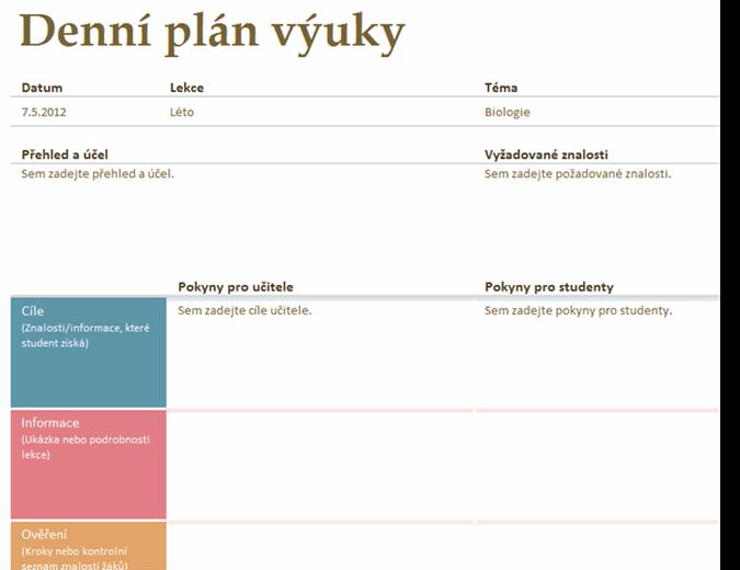 Denní plán výuky