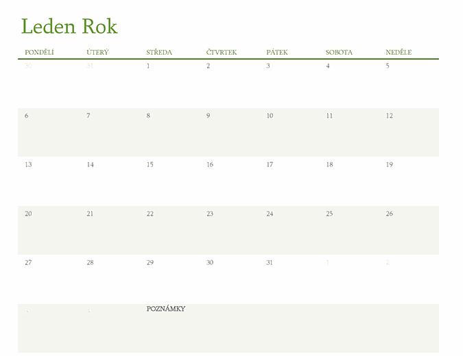 Kalendář pro libovolný rok (1 měsíc na list)