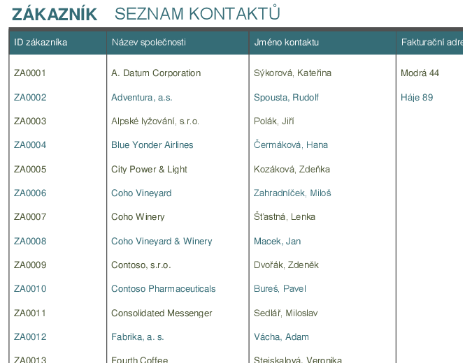 Seznam kontaktů